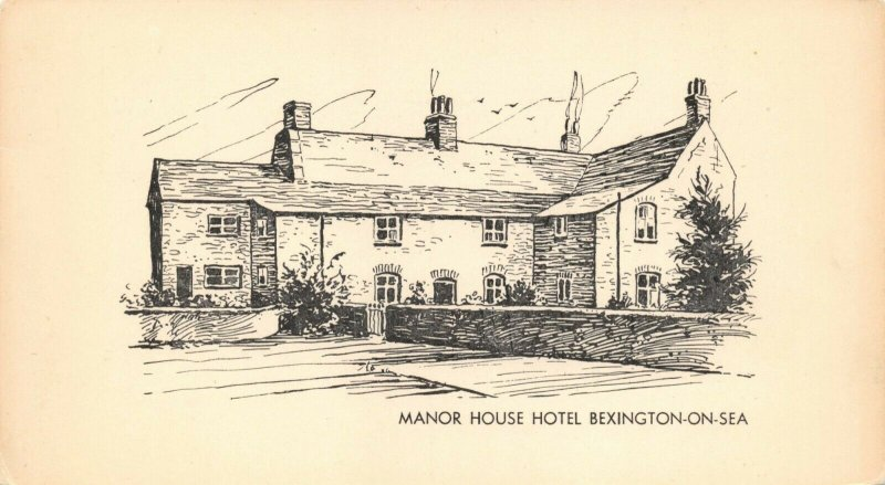 Vintage Dorset Art Sketch Postcard, Manor House Hotel, Bexington On Sea AU6