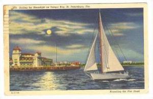 Sailing By Moonlight On Tampa Bay, Florida, PU-1939