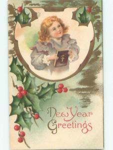 Pre-Linen New Year CHILD HOLDING BIBLE BOOK AB2635