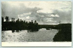 Spokane Washington~Spokane River @ Night~Moonlight Behind Clouds~c1905 B&W