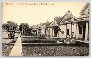 Norfolk NE~North Eleventh Street Homes~Rocking Chair Porches~Vintage Car~c1914