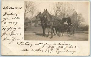 Vintage RPPC Real Photo Postcard Woman & 2 Kids in Fancy Horse Buggy 1908 Cancel