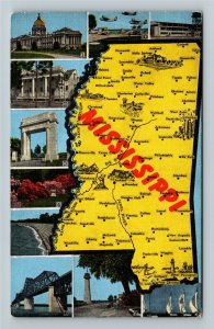 MS-Mississippi, Map of Important Landmarks & Cities, Advertising Linen Postcard