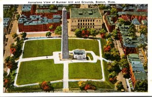 Massachusetts Boston Aerial View Of Bunker Hill and Grounds