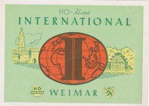 Germany Weimar Ho Hotel International Vintage Luggage Label sk3873