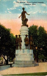 Ohio Columbus State Capitol Grounds Our Jewels Statue 1911 Curteich