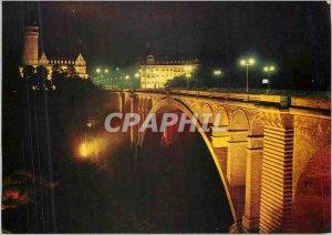Postcard Modern Illuminations Luxembourg Adolphe Bridge and the Savings Bank ...