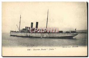 Postcard Old Boat Postal mail Italia