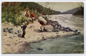 Portage Native American Indian Porters Canoe Artist Signed John Innes postcard