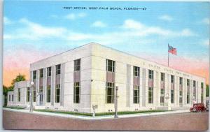 West Palm Beach, Florida Postcard POST OFFICE Street View Kropp Linen 1940s