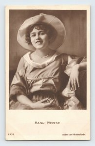 Hanni Weisse in Hat German Theater & Film Actress Vintage RPPC Unposted
