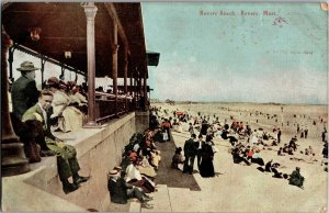 View of Revere Beach with Fuller's Chocolates Ad on Back Vintage Postcard T04