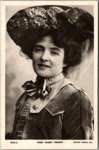 Vintage Miss Agnes Fraser RPPC Photo Postcard British Actress c1910s Unused