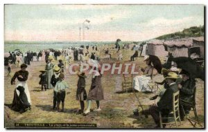 Old Postcard Trouville beach and pier walk