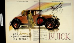 1928 Brown Buick Brown Woman Spring Time Vintage Print Ad 4346
