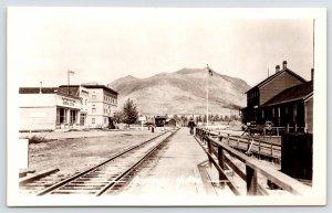 Carcross YT RR Depot~Interurban Trolley~Watson General Store~Big Hotel RPPC 1915