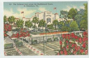 Linen Postcard ~St Pete Petersburg Fl ~ COLISEUM Across from Shuffleboard Courts