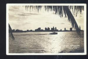 RPPC MIAMI FLORIDA BISCAYNE BAY SKYLINE VINTAGE REAL PHOTO POSTCARD