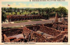 Colorado Pueblo City Park Bird House and Animal Pits 1947 Curteich