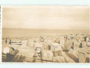 rppc 1920's MANY SUN SHELTERS AT THE BEACH AC8883