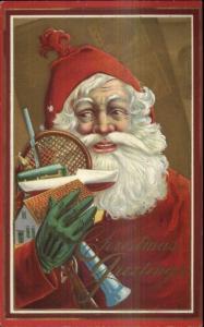 Christmas - Santa Claus Green Gloves & Toys 213B c1910 Postcard