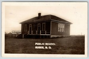 Burke South Dakota~One Room Public School House~Missed the Train~c1909 RPPC