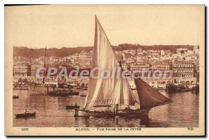 Postcard Old ALGIERS shooting threw the sailboat