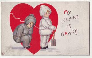 P725 old embossed card winter dressed big red broken heart, my heart is broken