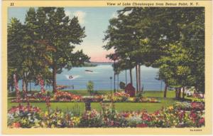 Lake Chautauqua from the Flower Gardens Bemus Point NY New York pm 1947 - Linen