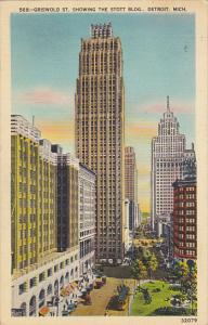 Griswold Street Showing The Stott Building Detroit Michigan 1940