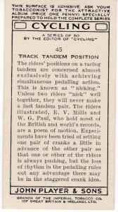 Cigarette Cards Players CYCLING No 45 Track Tandem Position