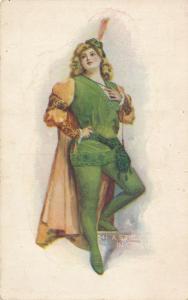 St Patricks Day Greetings - Pretty Lady - Study in Green - DB