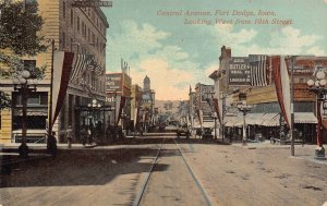 LPS84 FORT DODGE Iowa Central Ave. looking West from 10th St. Town View Postcard