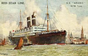 Red Star Line - SS Arabic.   Artist Signed: Charles Dixon