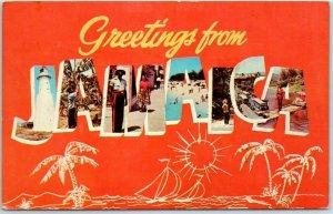 Vintage JAMAICA Large Letter Postcard Multi-View Dexter Chrome w/ 1969 Cancel