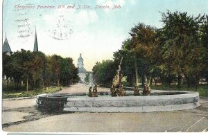 Lincoln, NE - Thompson Fountain, 11th and J Sts. - 1909