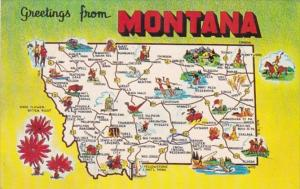 Greetings From Montana With Map 1967