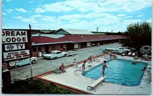 Colorado Springs Postcard DREAM LODGE Motel Pool View Highway 85 Roadside 1963