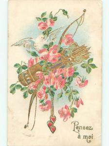 foreign c1910 Postcard BOW AND ARROW WITH BIRD AND FLOWERS AC2904