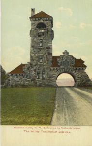 Mohonk Lake New York NY ~ Entrance, Smiley Testimonial Gateway Postcard
