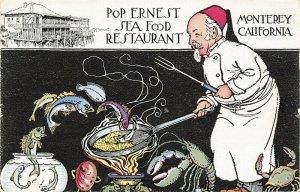 Monterey CA~Pop Ernest Sea Food Restaurant~Old Man in Night Shirt~Fantasy~1940s