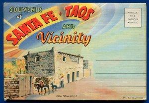 Santa Fe Taos & Vicinity La Fonda Hotel Plaza large letters postcard folder