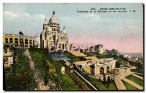 Old Postcard Paris Montmartre Panorama of the Basilica and its surroundings