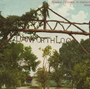 1907 Danforth Lock Oconomowoc Wisconsin Roadway Entrance Postcard