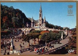 France Lourdes The Basilica and the Esplanade Basilique Postcard