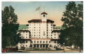 Broadmoor Hotel Colorado Springs CO hand colored postcard