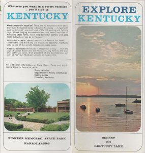 Explore Kentucky Vintage Brochure, Sunset on Kentucky Lake Cover