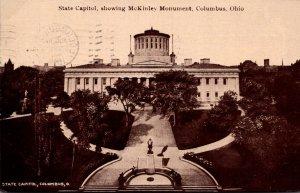Ohio Columbus State Capitol Showing McKinley Monument 1912