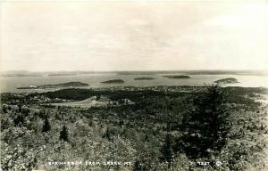 ME, Bar Harbor, Maine, Town View, From Green Mountain, Eastern Illustrated, RPPC