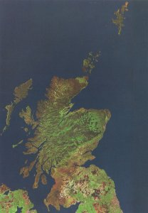 Scotland From Outer Space Scottish Astronomy Map Postcard
